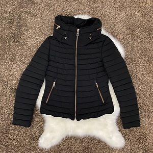 Zara bloggers fur collar puffer anorak jacket